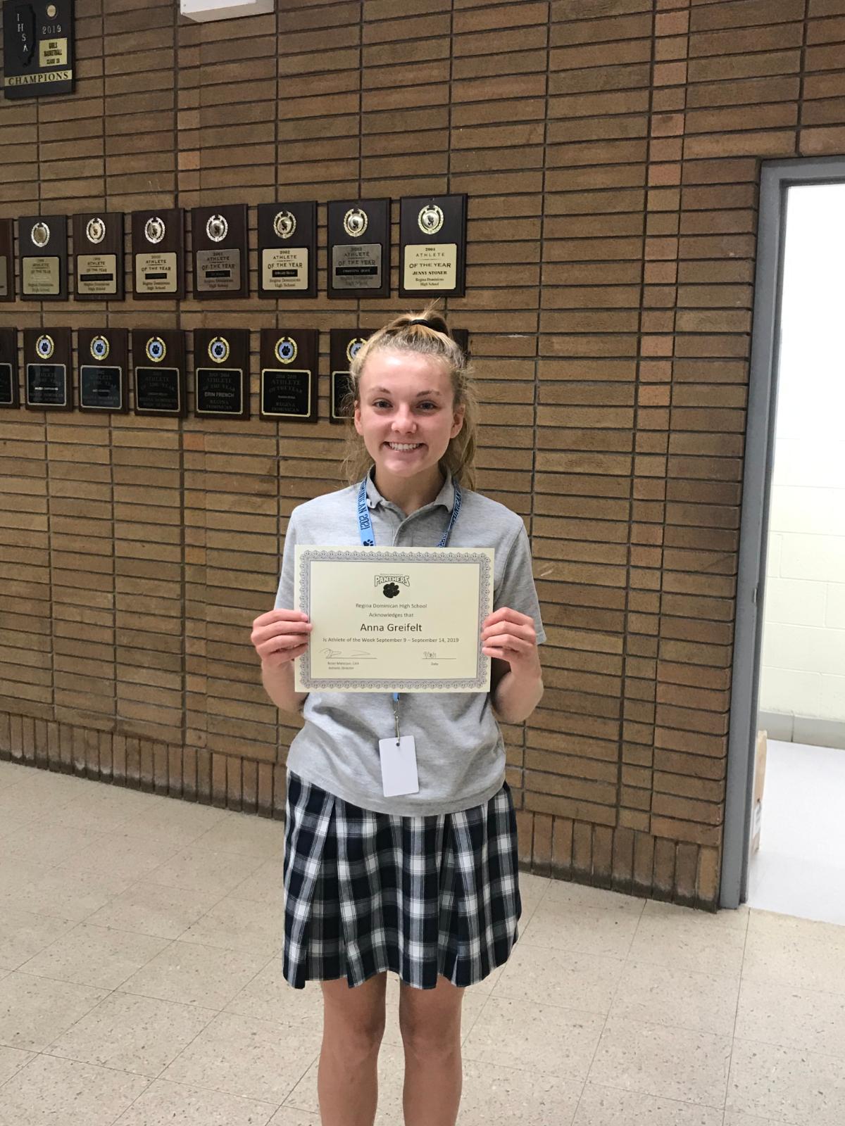 Anna Greifelt Named Athlete of the Week for the Week of September 9-14