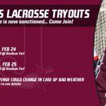 Boys Lacrosse Tryouts – Feb 24 & 25