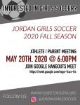 Jordan Girls Soccer Parent Meeting – May 20 @ 6:00 PM