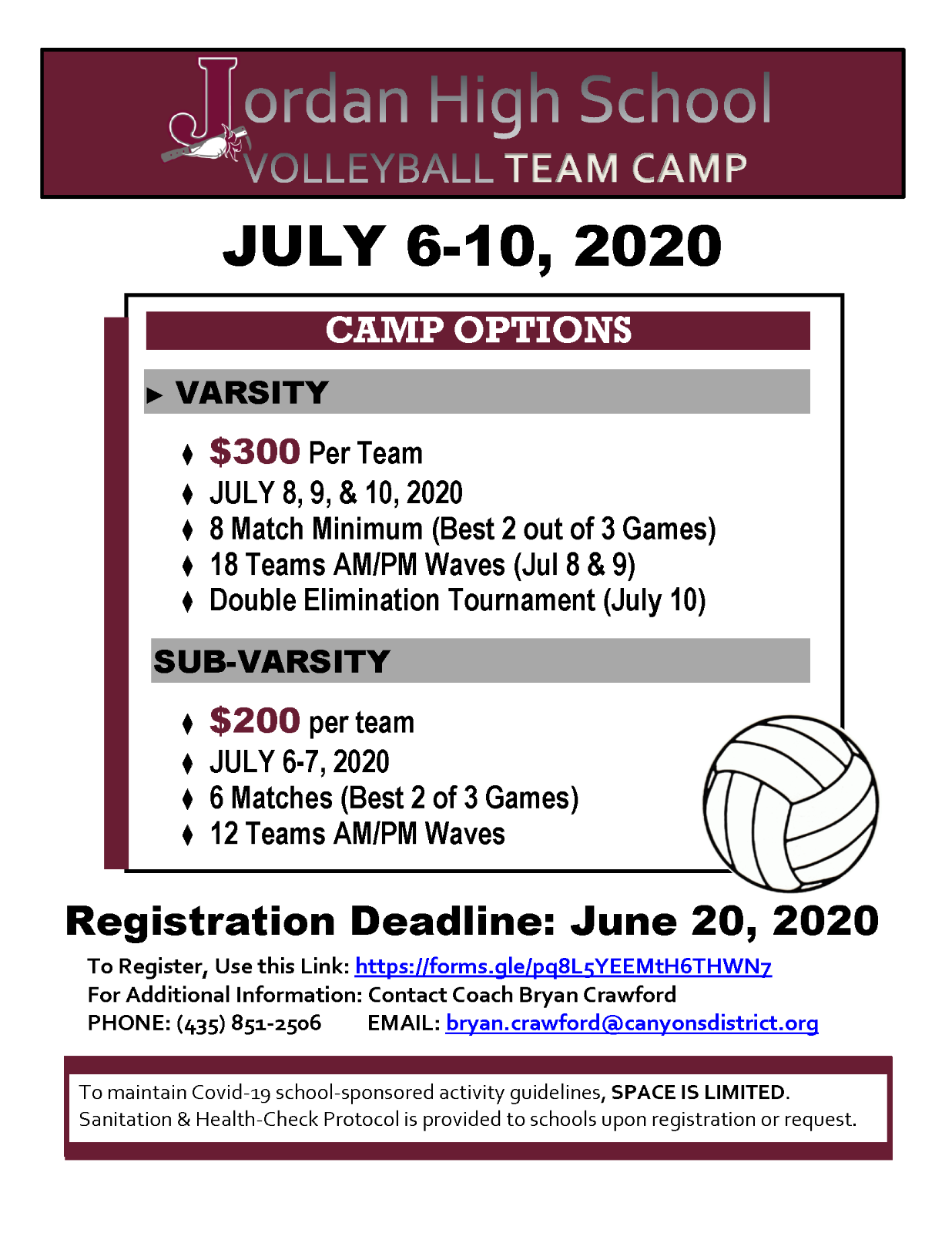 JHS Volleyball to Host Volleyball Team Camp & Tournament
