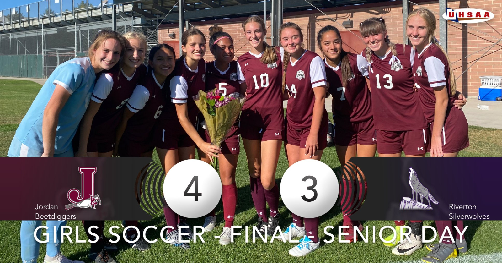 Lilly Jensen Scores 3 goals as Jordan Soccer Wins on Senior Day!