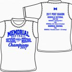 2017 Memorial Softball Sectional/Regional Championship T-Shirts