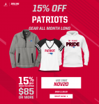 15% off Patriots Gear All Month Long