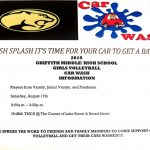 SPLISH SPLASH ITS TIME FOR YOUR CAR TO GET A BATH!!!!!! VOLLEYBALL CAR WASH FROM 9AM TO 3PM @ THE GRIFFITH YMCA. COME OUT AND SUPPORT YOUR LADY PANTHERS!