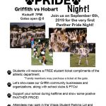 Panther Pride Night! Join us on September 6th for Griffith vs. Hobart. Kickoff 7pm. Gates Open @ 6pm.
