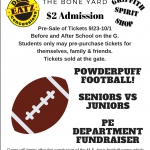 Powderpuff!!! Calling all Panthers!!!! Seniors vs. Juniors!!! Come out and support Griffith PE department, October 1st @ 7PM