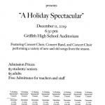 Join us for a Wonderful Night! A Holiday Band & Choir Spectacular! December 11, 2019 @ 6:30 pm in the Griffith Auditorium.