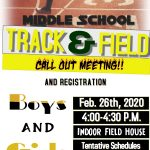 Middle School 6th, 7th, 8th Grade Boys and Girls Track Call-Out Meeting !