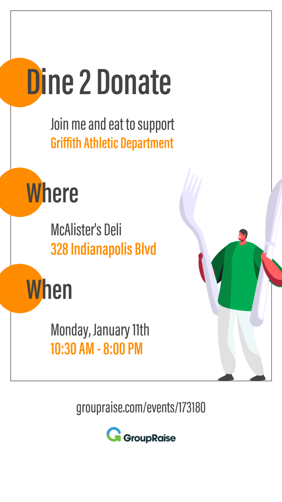 Tell your friends & family you already have dinner plans today with GHS!