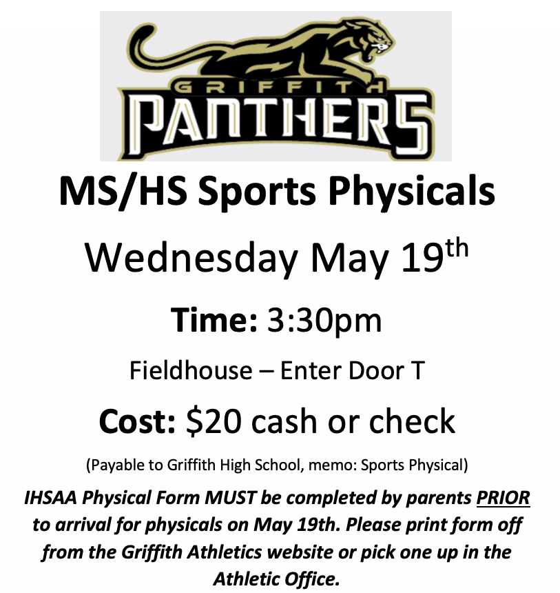 SPORTS PHYSICALS FOR THE 2021- 2022 SCHOOL YEAR – MAY 19th – AT GHS – AT 3:30 – ENTER DOOR T