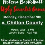 Basketball vs. Chilton Co. Tonight – Ugly Sweater Game 6 PM and 7:30 PM