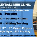Volleyball Announces Mini Clinic Dates