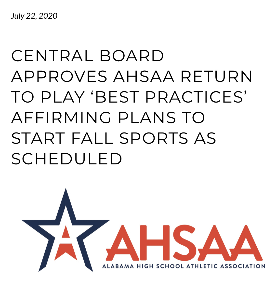 Fall Sports update from AHSAA