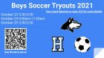 Boy's Soccer Announce Tryouts.