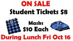 Student Tickets to Stanhope Game and Masks On Sale