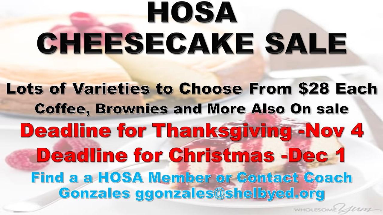 Sports Med – HOSA Announces Cheesecake Fundraiser