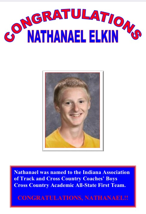 Nathanael Elkin – Academic All State First Team (Boy's Cross Country)