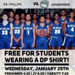 FREE ADMISSION FOR DP STUDENTS, Boys Basketball vs Windermere – Wednesday Jan 29th.  Must wear a DP Shirt and show student ID.