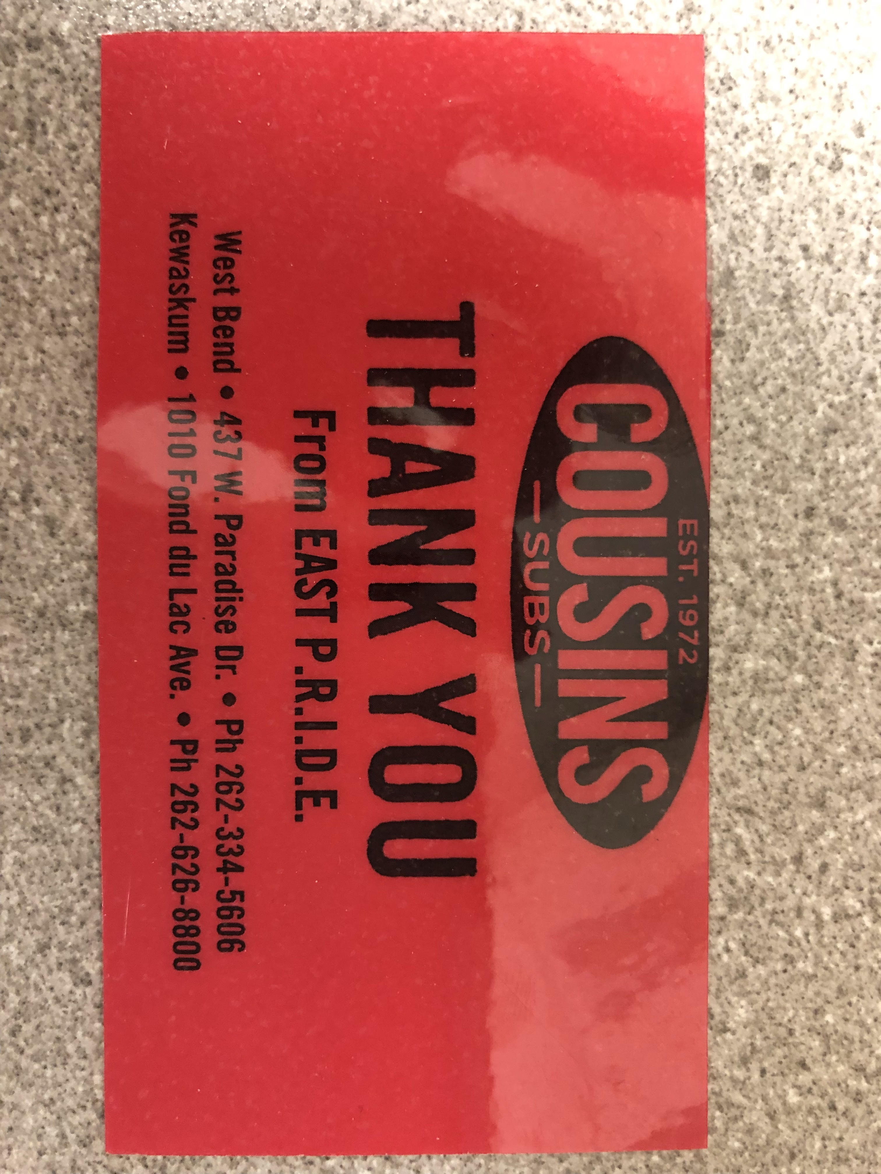 EAST ATHLETICS SELLING COUSINS SUBS CARDS