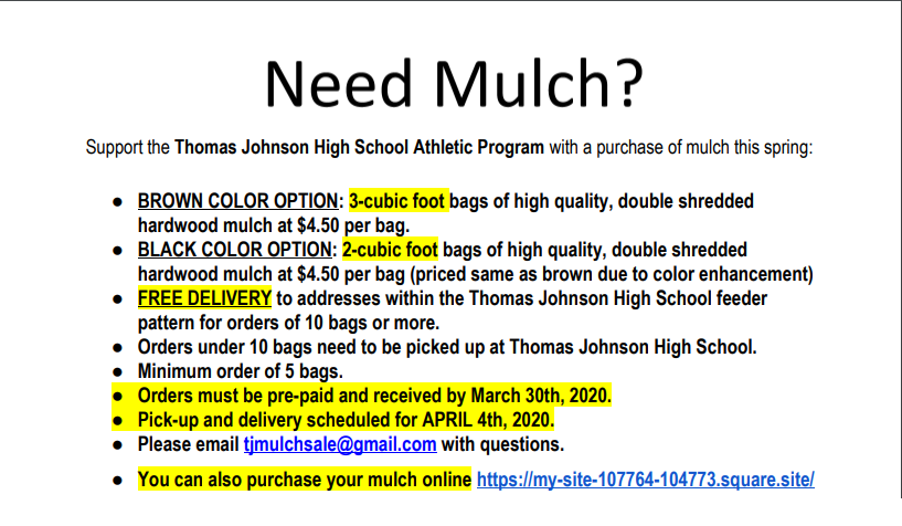 TJ Mulch Sale 2020!
