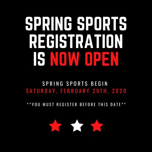GTJHS Spring Sports Registration Open!