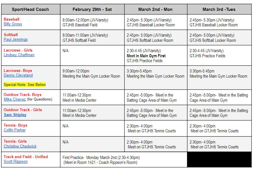 Spring 2020 Program Tryouts/Training Schedule – Opening Week