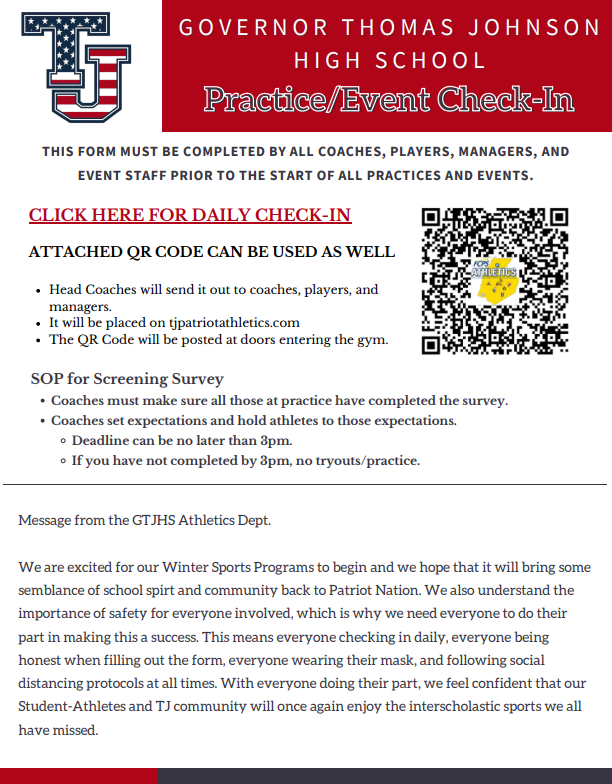 GTJHS Athletics Practice/Event Check-In
