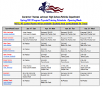 Spring 2021 Program Tryouts/Training Schedule – Opening Week