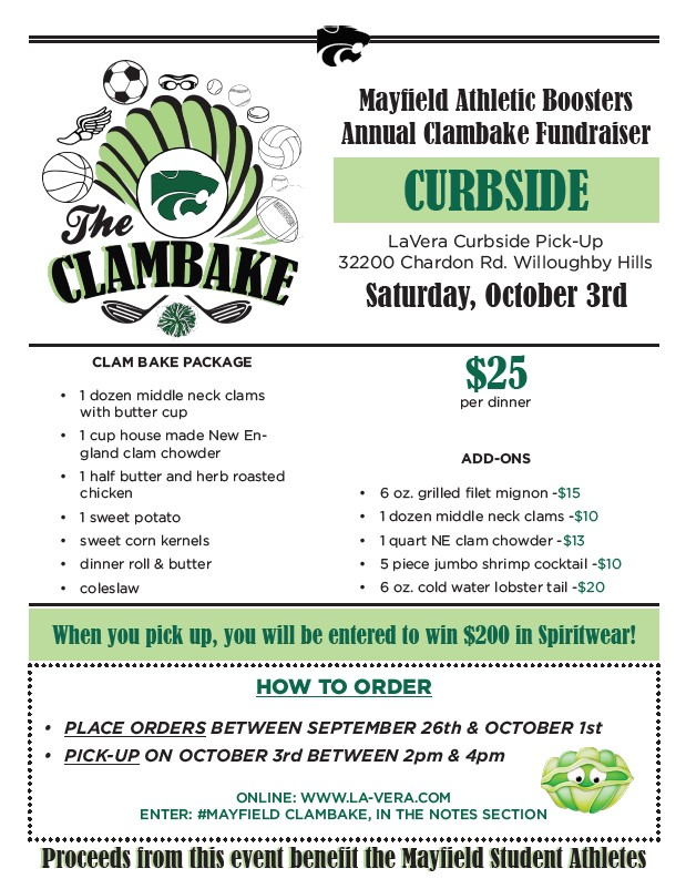 Mayfield Athletic Boosters: Curbside Clambake on 10/3/20