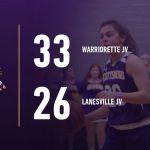 Warriorette Junior Varsity Basketball beats Lanesville Junior-Senior 33 – 26