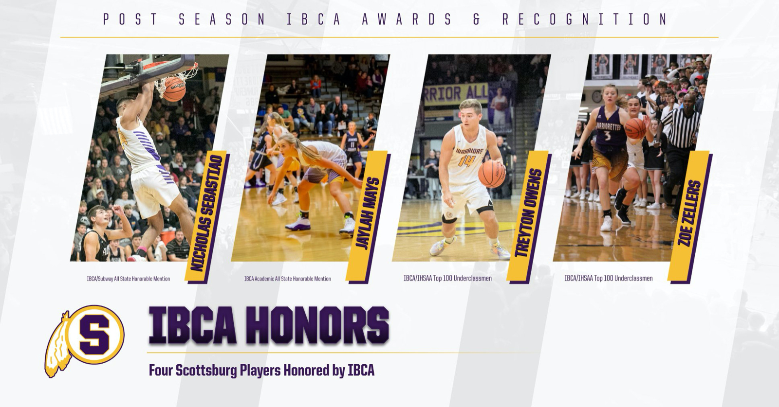 Four Scottsburg Basketball Players Honored by IBCA