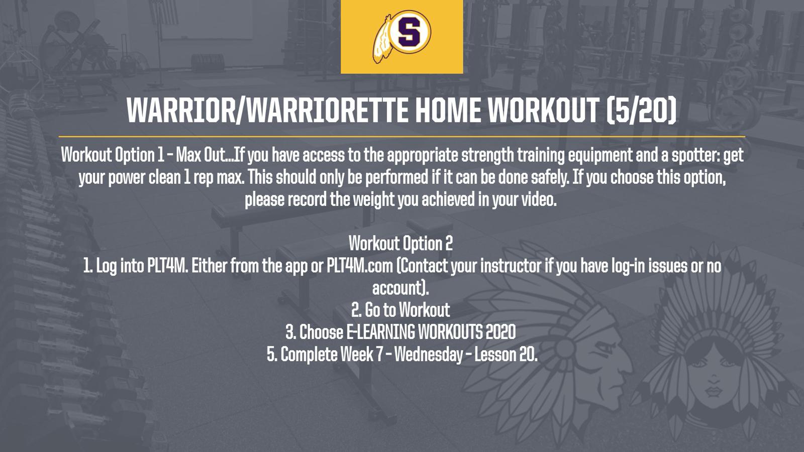 Warrior/Warriorette Home Workout (5/20)