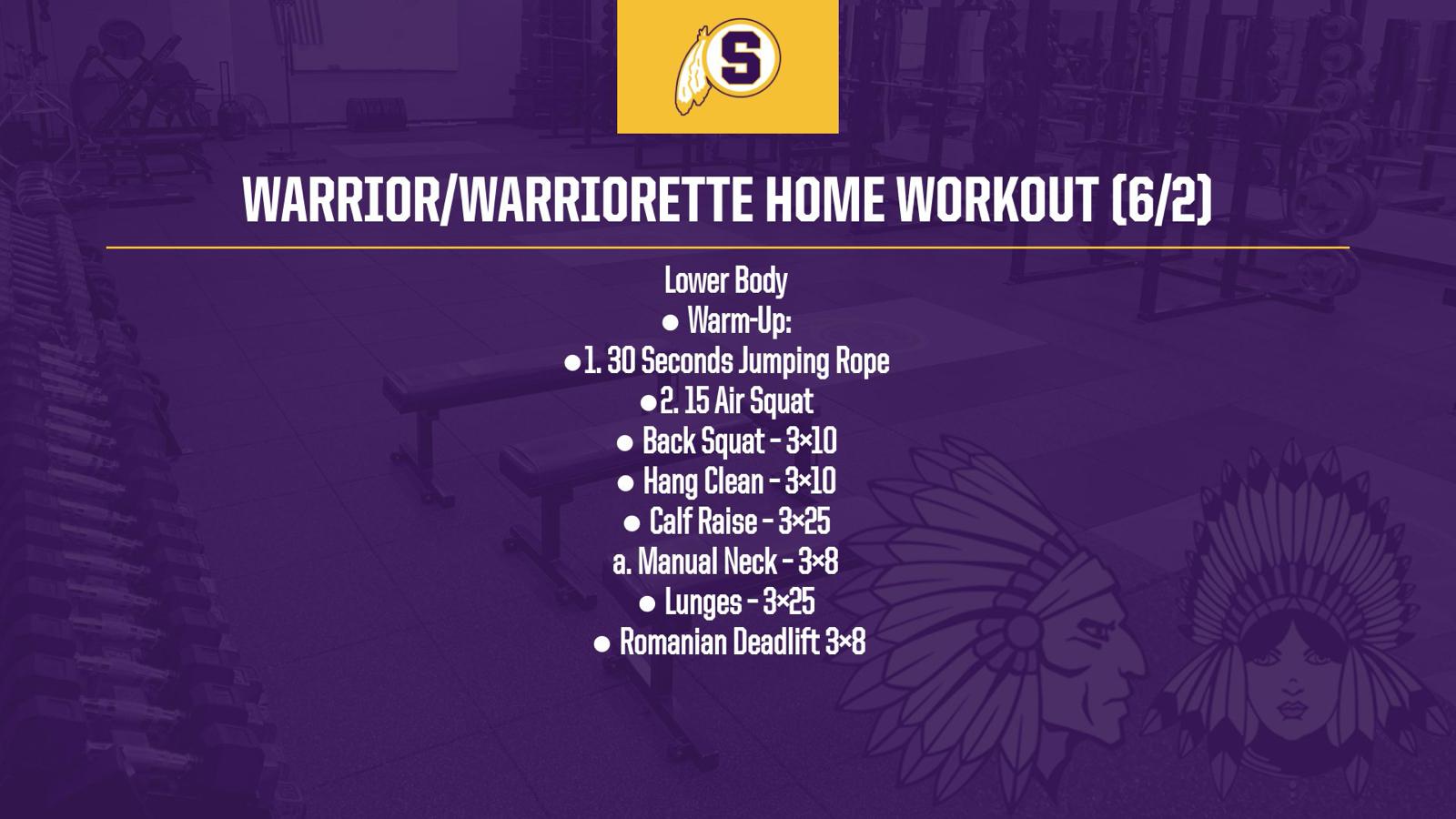 Warrior/Warriorette Home Workout 6/2
