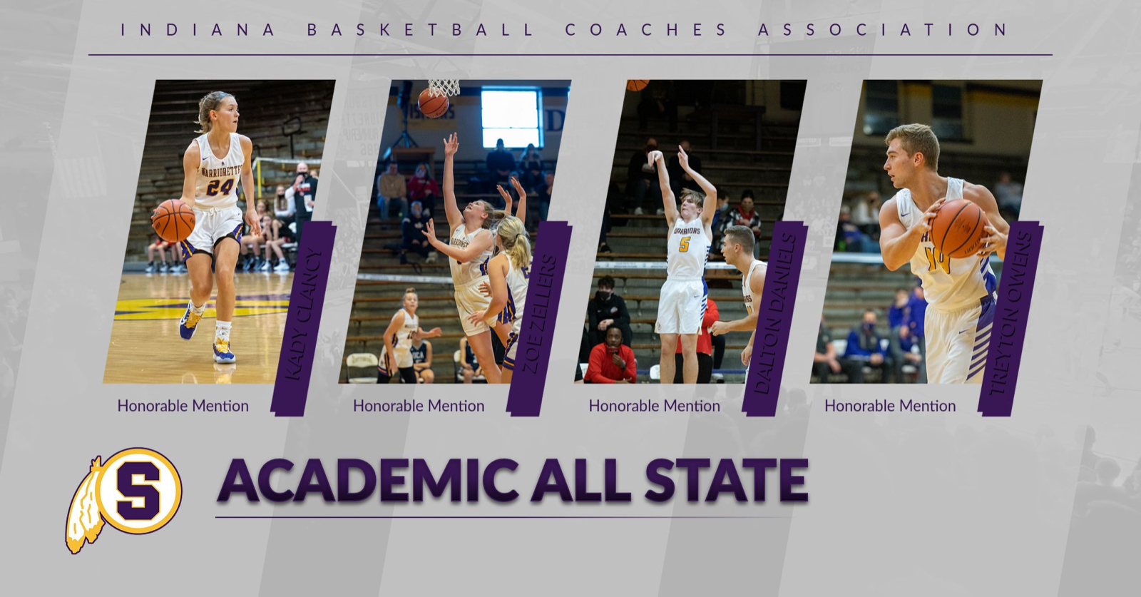 Two Warriorettes, Two Warriors Named IBCA Academic All State Honorable Mention