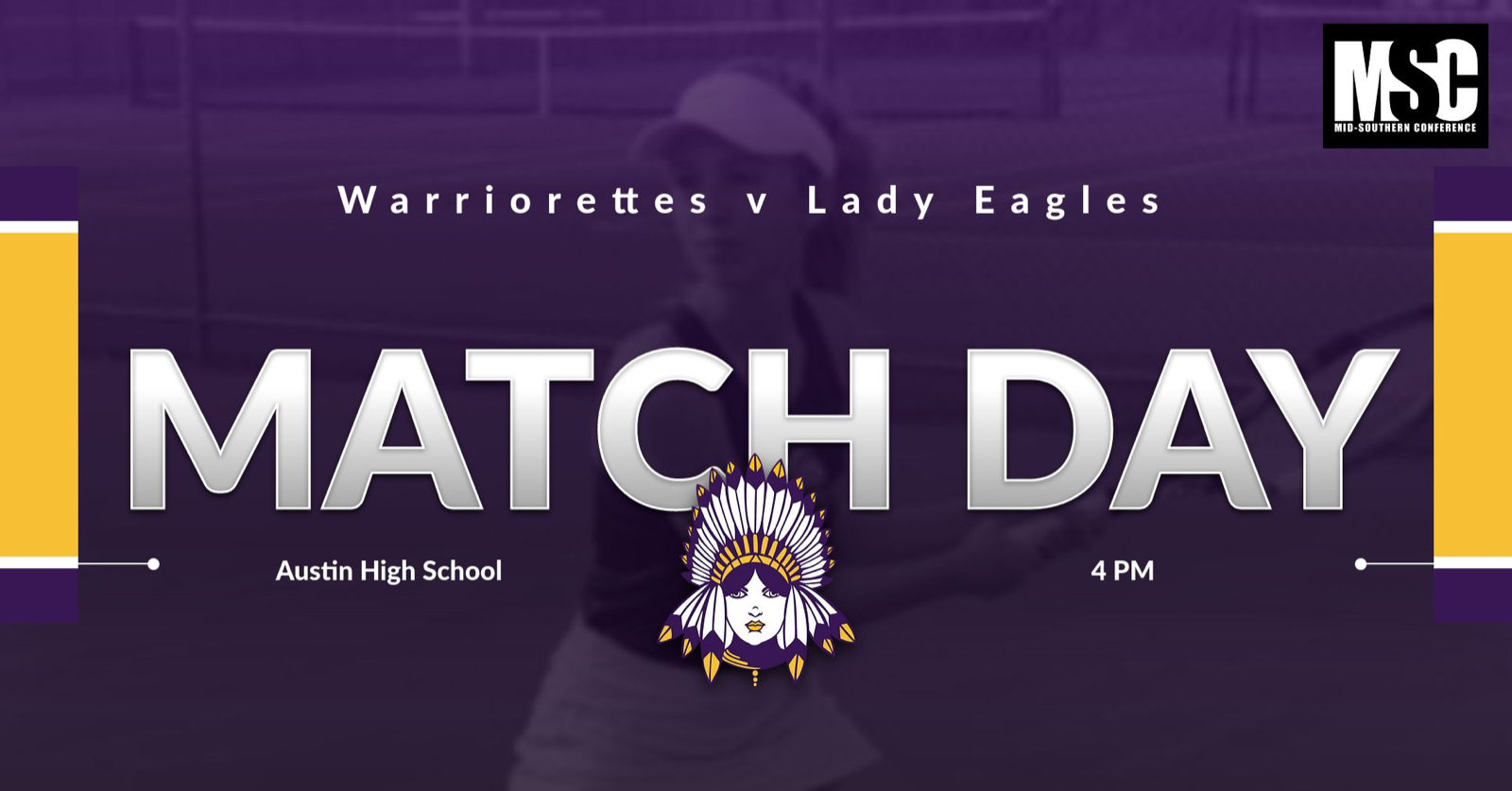 Warriorette Tennis at Austin Moved to Today at 4 PM