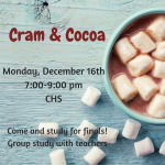 Cram and Cocoa + Fall Finals Schedules