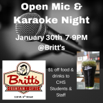StuCo to Host Open Mic Night @ Britt's