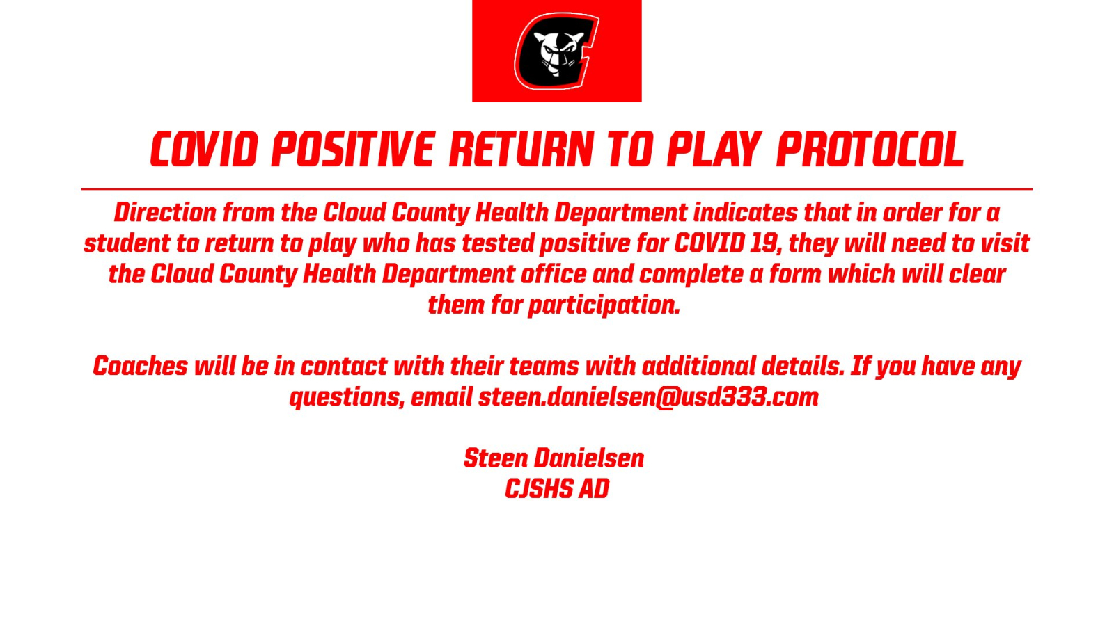 COVID Positive Return To Play Protocol