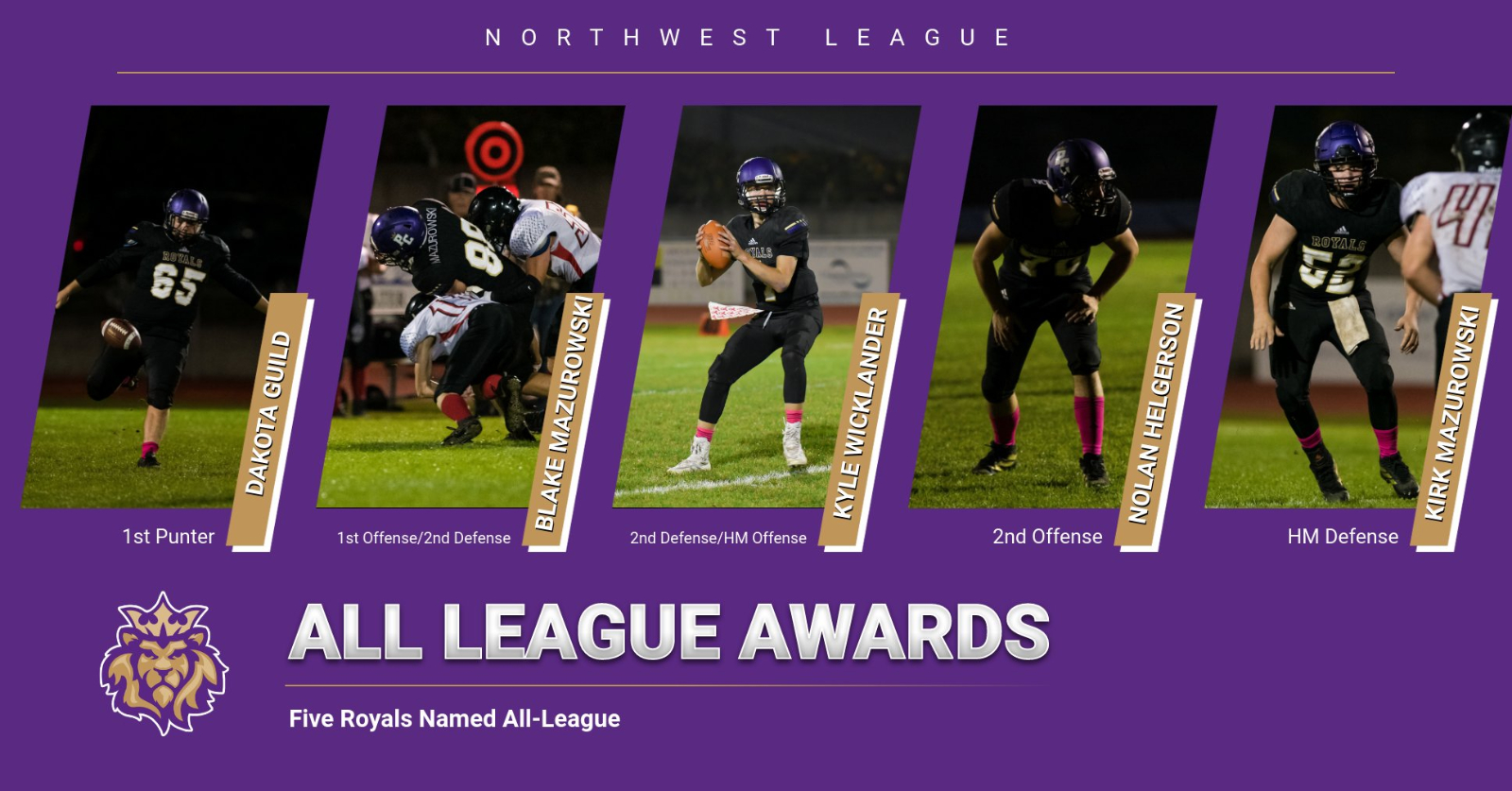 Five Football Players Named To All-League