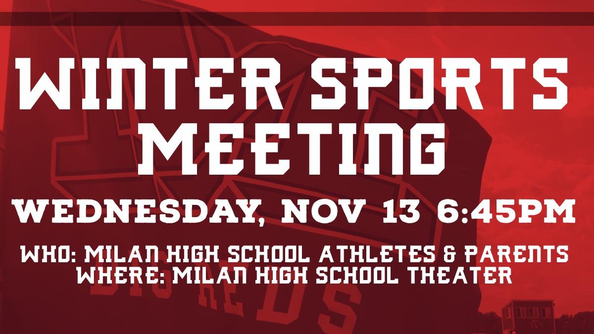 Winter Sports Meeting Wednesday, Nov. 13