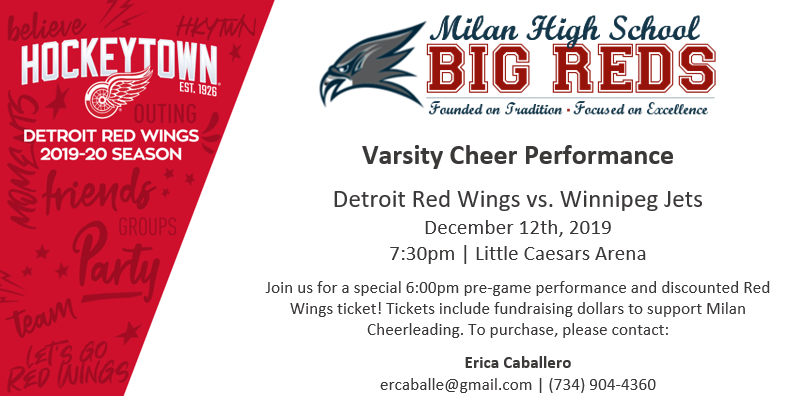 Milan Cheer Team to Perform at Red Wings Game – Buy Discounted Tickets to Support the Team HERE!