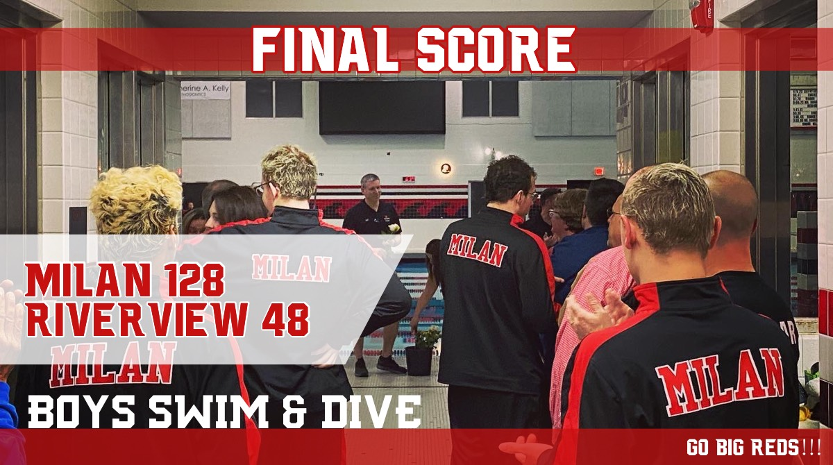 Milan Boys Swim Team Breaks Two Pool Records in win over Riverview, 128-48
