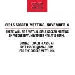 Girls Soccer Meeting, November 4th