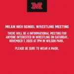Milan High School Wrestling Meeting, Nov. 7, 1pm
