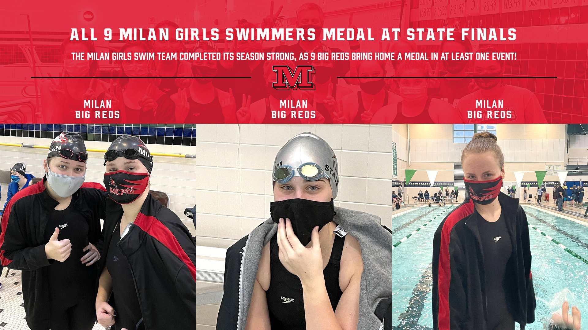All 9 Milan Girls Swim State Qualifiers Medal at State Finals