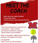 Milan Softball Player & Parent Meeting Feb. 10th, 6pm