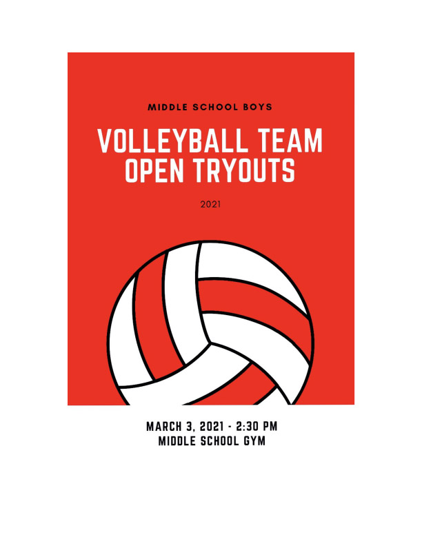 Middle School Boys Volleyball Tryouts