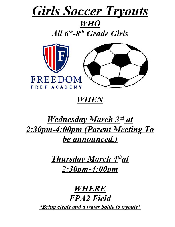 Middle School Girls Soccer Tryout Information