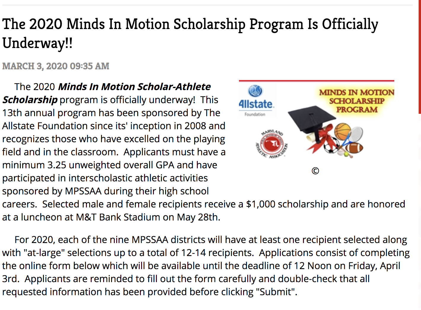 SENIORS APPLY FOR Minds in Motion Scholarship
