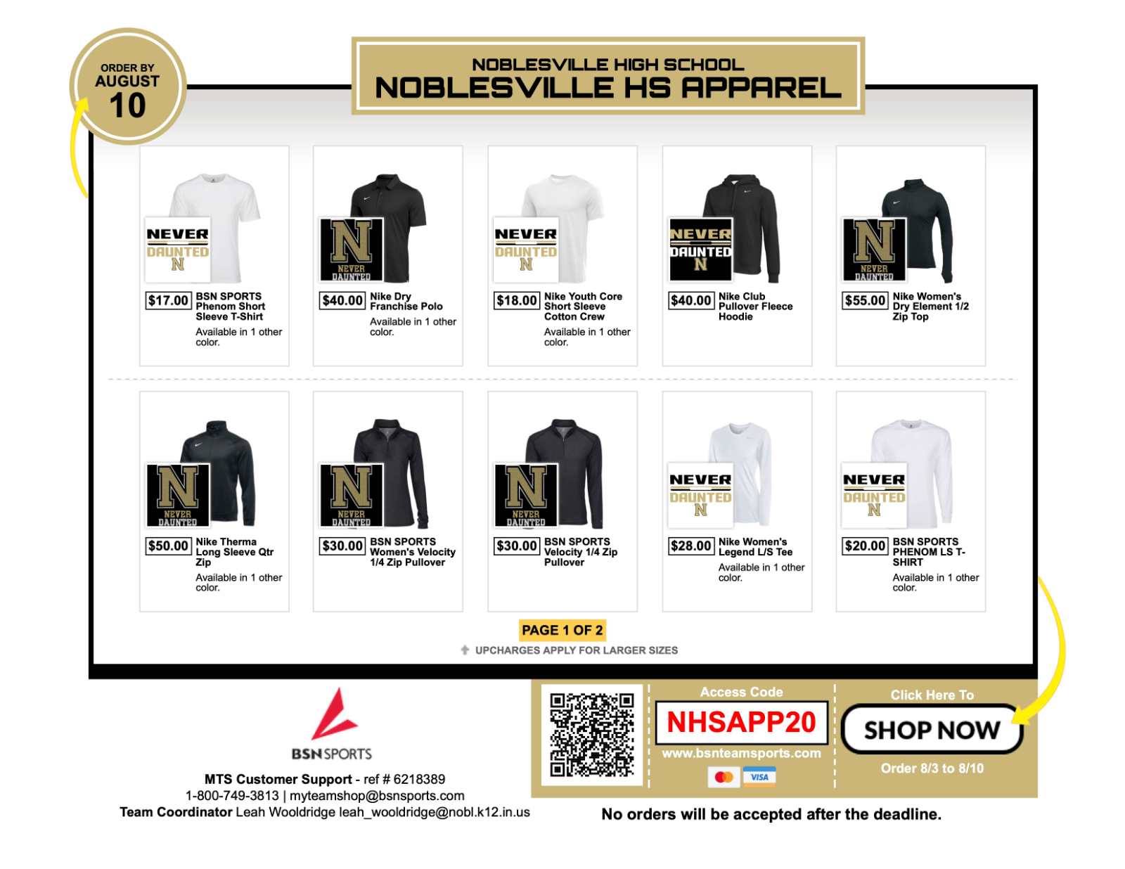 Apparel Store Open Through August 10